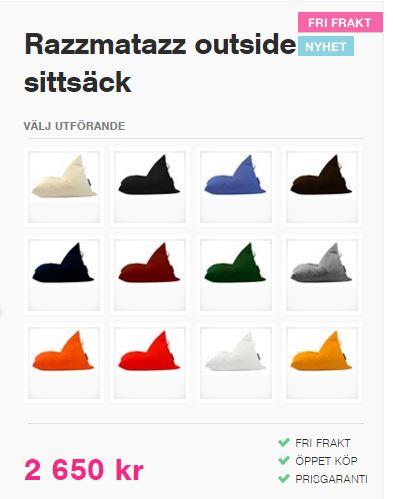 razzmataz outiside sittsäck olika färger