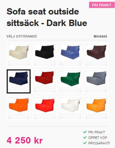 olika färger på seat sofa