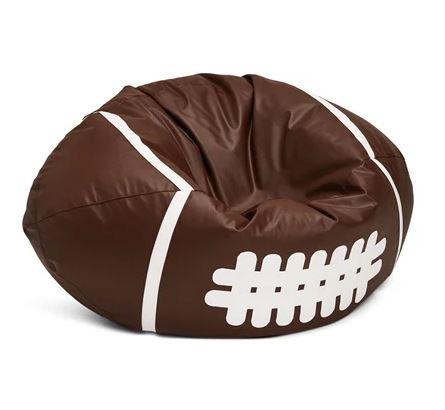 Sittsäck som är en rugbyboll